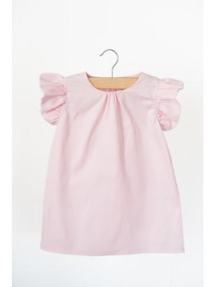 Sukienka z falbanką pudrowa