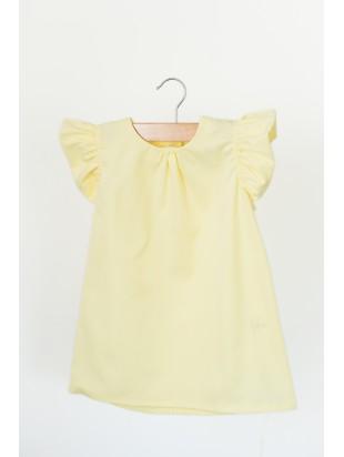 Sukienka z falbanką cytrynowa